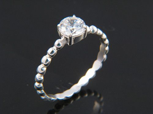 Sterling Silver Band - Zirconia Diamond Stackable