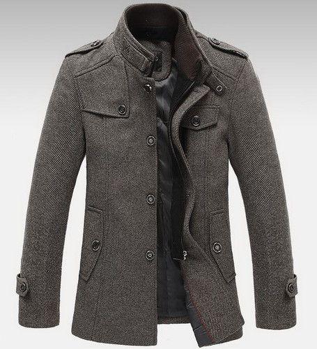 Mens Standing Collar Coats Wool Jackets Warm Fleece Outerwear Gray ...