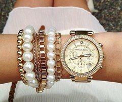 pearl bracelet golden watch jewelry