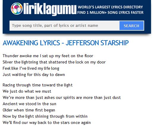 Awakening Lyrics Jefferson Starship Http Www Liriklagumu Com 4591190 Awakening Lyrics Jefferson Starship Lyrics Jefferson Starship Song Lyrics