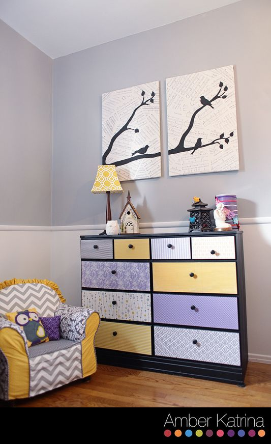 Baby S Nursery Room Purple Grey And Yellow Birds