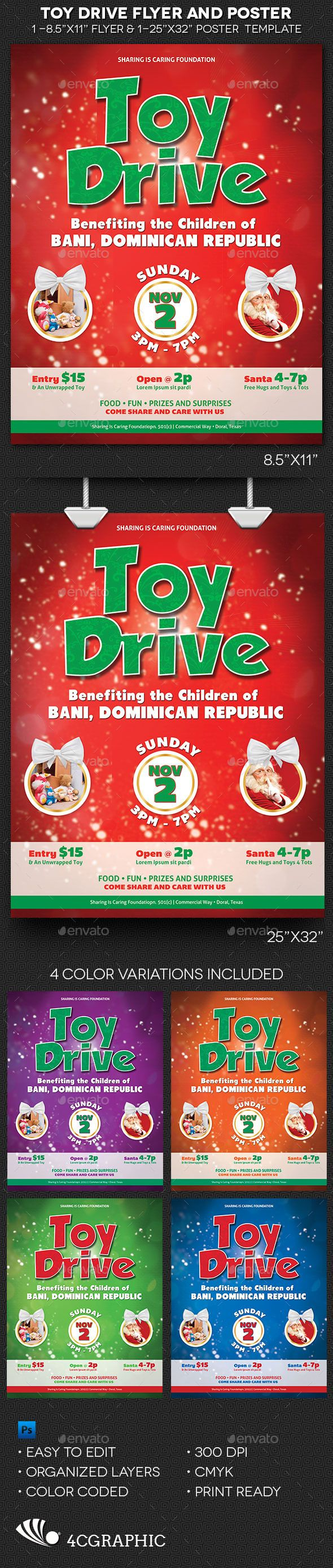 Printable Toys For Tots Logo : Toy drive flyer and poster template