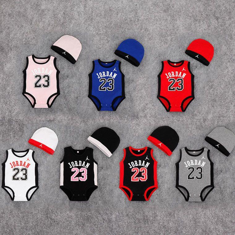f146e2567248  8.95 - Baby Baseketball Jordan 23 Summer Cotton Romper W  Hat Boy Girl  Outfit Jumpsuit  ebay  Fashion