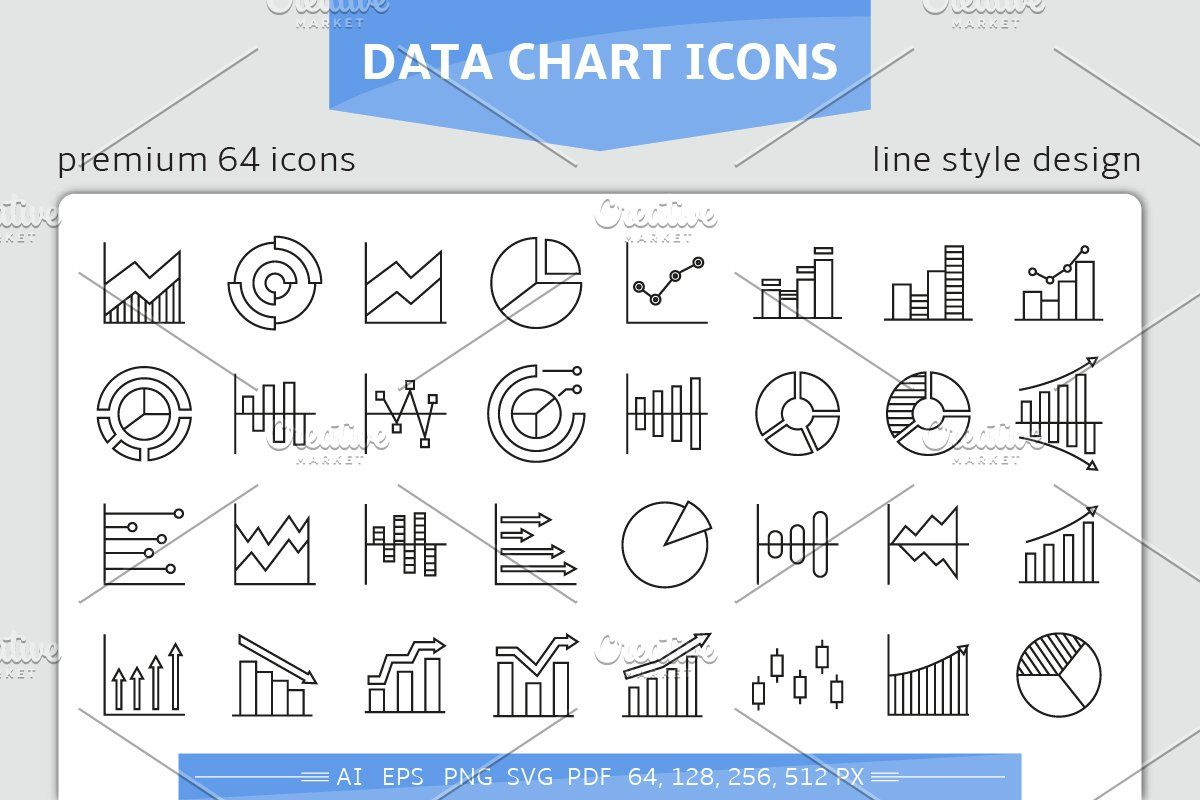 Data Chart And Graph Icons Data Charts Charts And Graphs Graphing