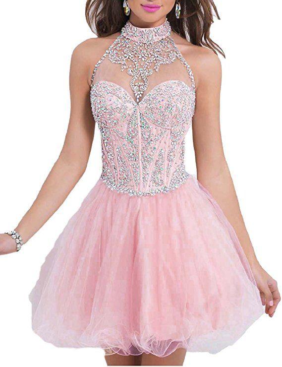 5991030346d OYISHA Women s Short Beading Halter Homecoming Prom Dresses Backless Pink  18W