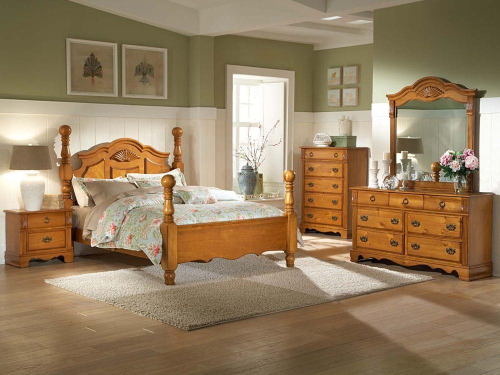 Pine Bedroom Furniture plus Table Lamp and Flower Vase