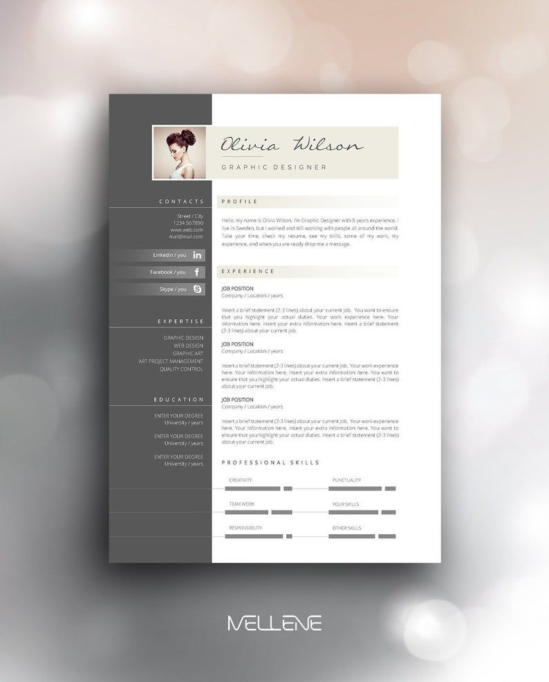 Resume Template 3 Page Cv Template Cover Letter Instant Etsy In 2020 Cv Template Resume Template Templates