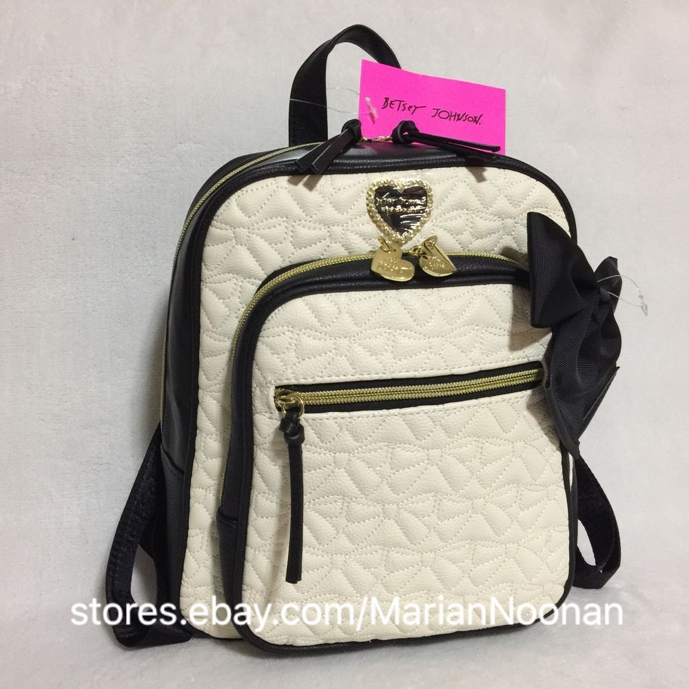 Betsey Johnson Zip Around Backpack Style Purse Cream Black Be Mine ...