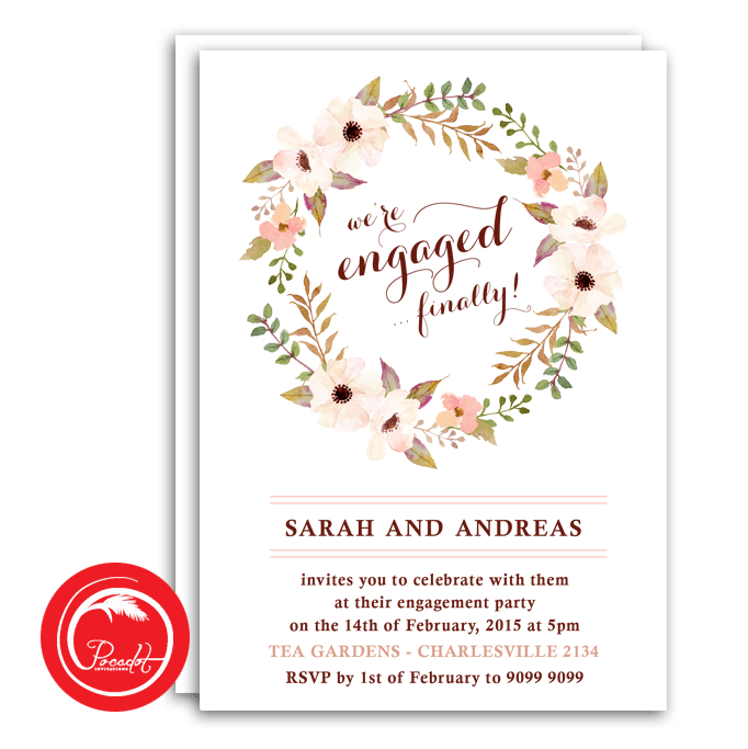 Floral Wreath Engagement Invite (With images) Engagement