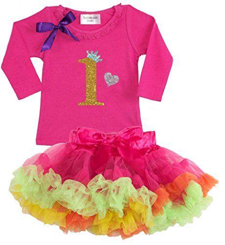 Bubblegum Divas Baby Girls 1st Birthday Princess Shirt Rainbow Tutu