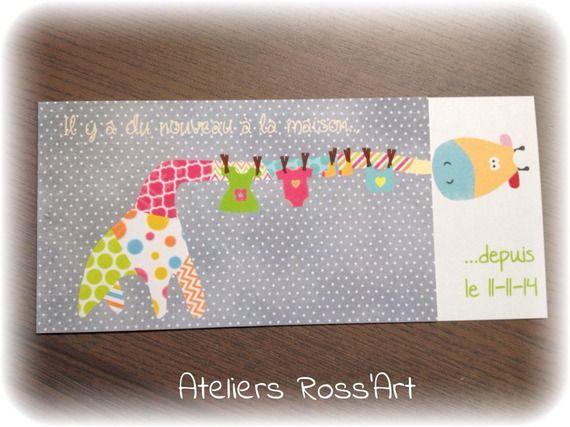 10 Faire-part naissance girafe Fun ou invitation baptême – texte personnalisable