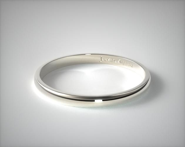 Flat Edged Wedding Band 2.5MM Mens 18K White Gold