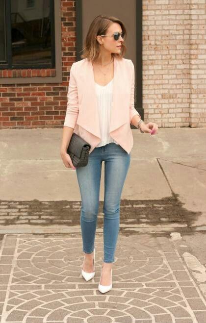 Pale pink+Denim+Heels