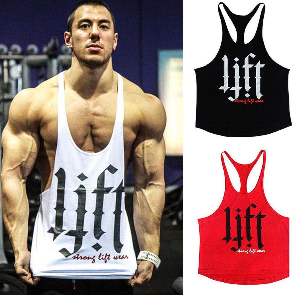 034da3977c0cef Mens Workout Bodybuilding Tank Top Vest Gym Singlet Y Back Muscle Racer-Back
