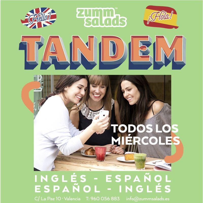 #TANDEM #English   <--> #Español   en #VALENCIA: ¡somos tu nuevo #bar de #Intercambio de #Idiomas! Aprende y practica #INGLÉS en nuestro espacio #bilingüe frecuentado por clientes #internacionales y #viajeros.  Síguenos en Facebook y te pondremos en contacto con otras personas para que a partir del próximo miércoles 20 de 18:30h a 20:30h tu inglés mejore de forma ¡rápida, barata y divertida!