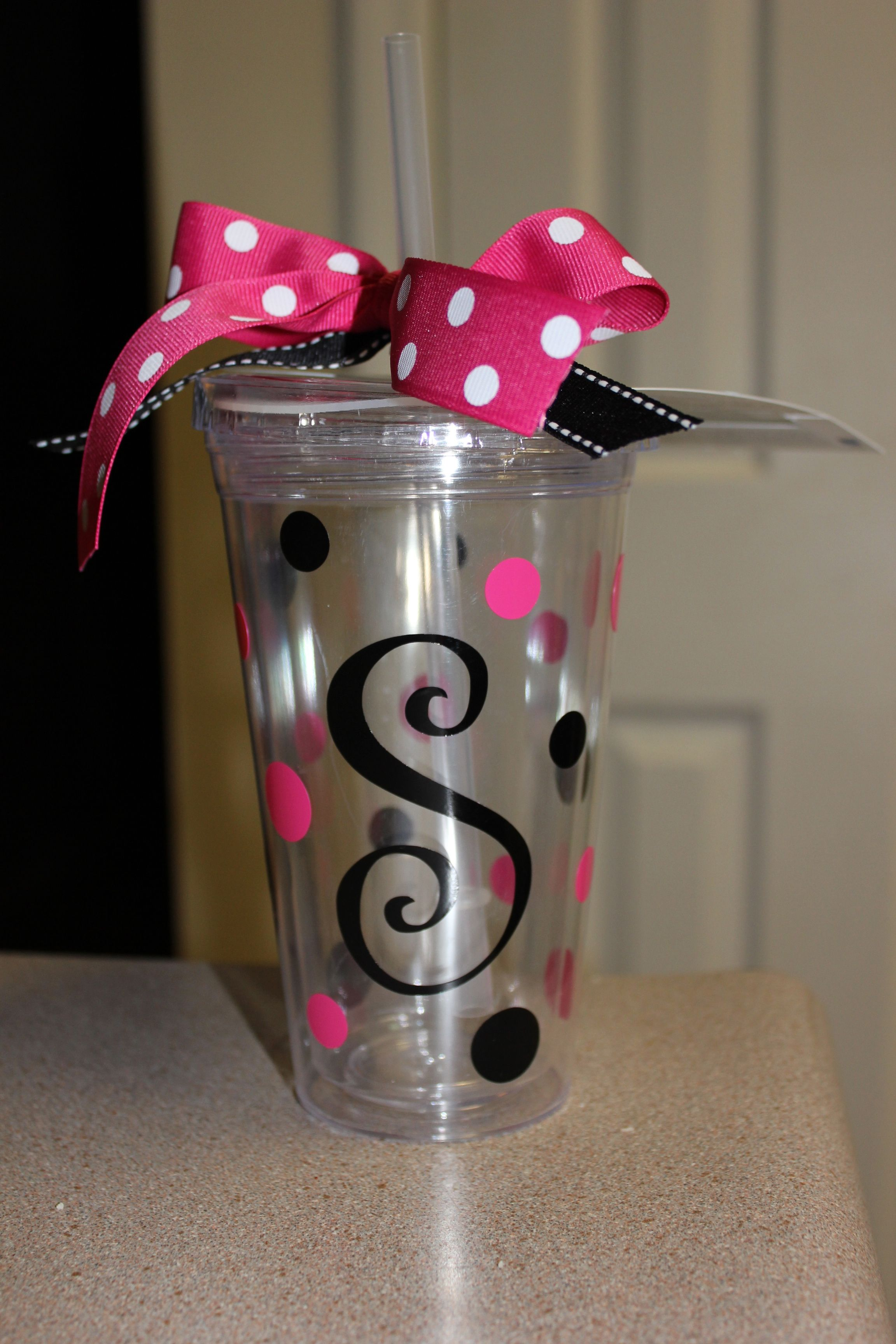 Initial Tumbler cups. Made LOTS of these as Christmas gifts this ...