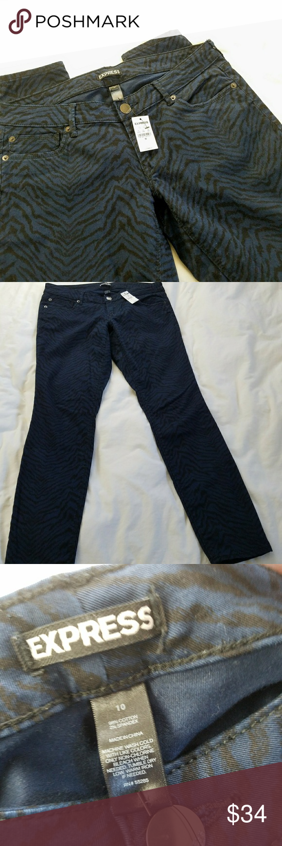 """NEW Express Black & Blue Zebra Jeans Express Black and Navy blue zebra print jeans. Size 10. NEW With Tags - originally $88.00  Navy blue 5-pocket skinny jeans with black zebra print?  Fabric Content: 98% Cotton, 2% Spandex  Measurements (lying flat, unstretched): Waist: 17"""" Rise: 7.5"""" Inseam: 30"""" Leg opening: 5.25"""" Express Jeans Skinny"""