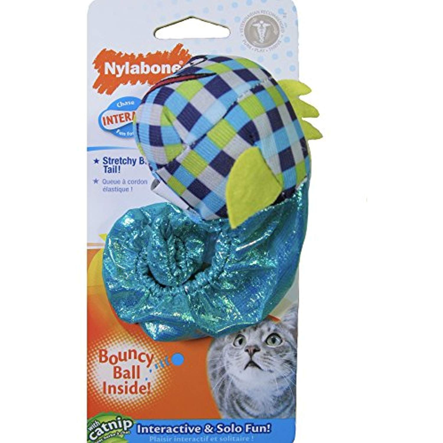 Nylabone Stretchy Bungee Tail Fish with Bouncy Ball and