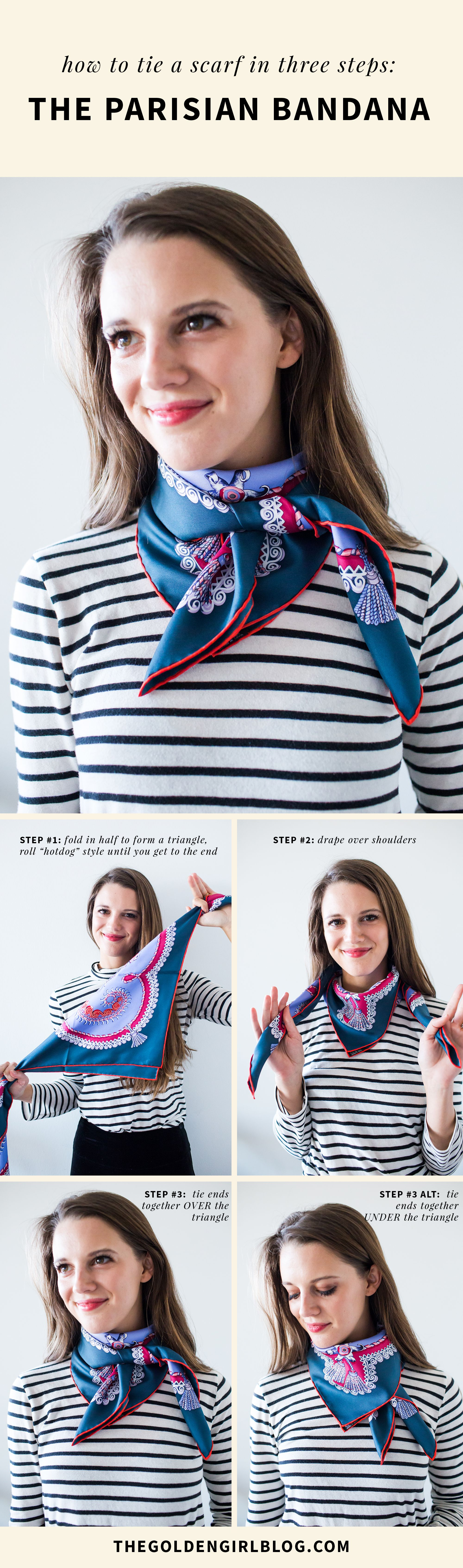 Two Ways to Tie a French Style Scarf   The Golden Girl Blog ...
