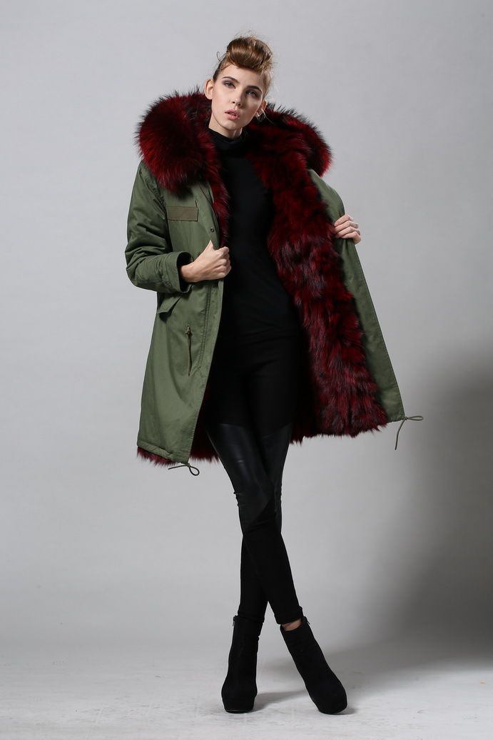 fox furs multicolor women hot sale high fashion parka fur hood ...