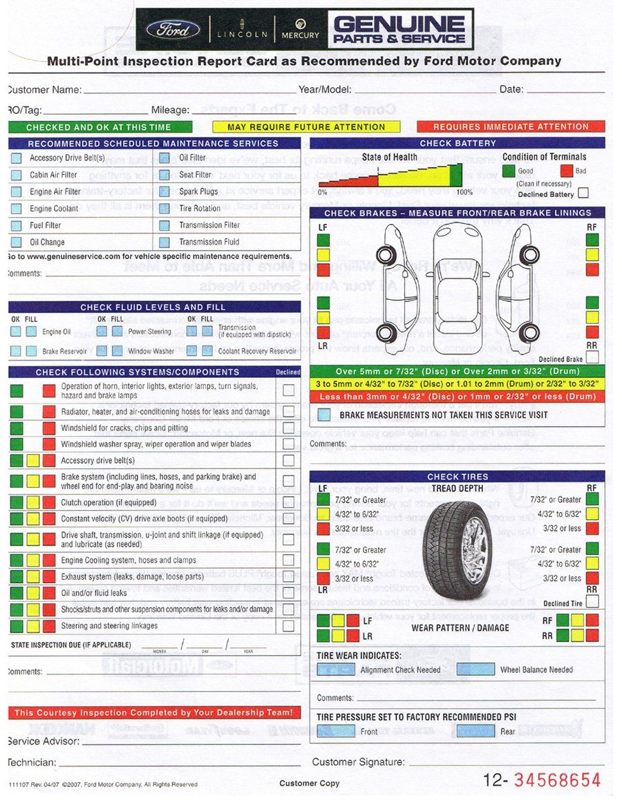 Ford Multi Point Inspection Report Card 6 Vehicle Inspection Car Checklist Ford