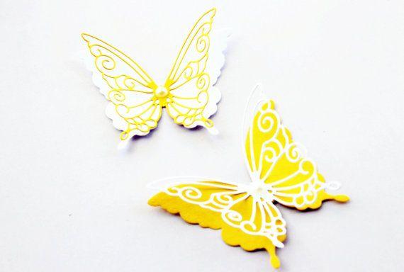 3d butterfly wall art, Wall decorations, Nursery wall decor, Yellow ...