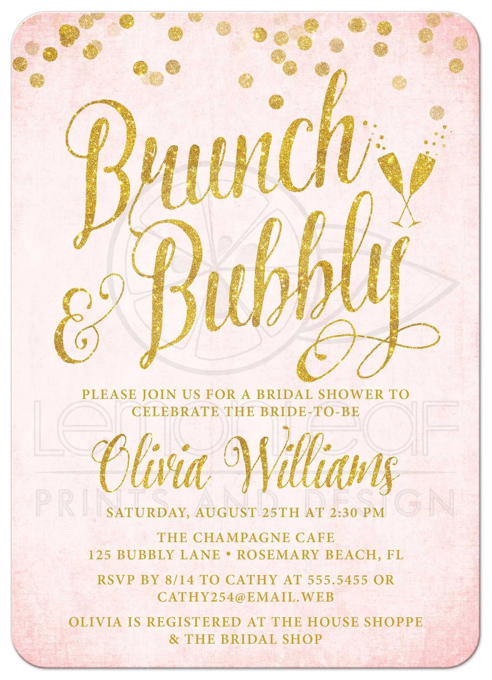 pink gold brunch bubbly bridal shower invitations