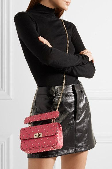e61087a7077 Valentino - Rockstud Spike Small Quilted Leather Shoulder Bag - Pink
