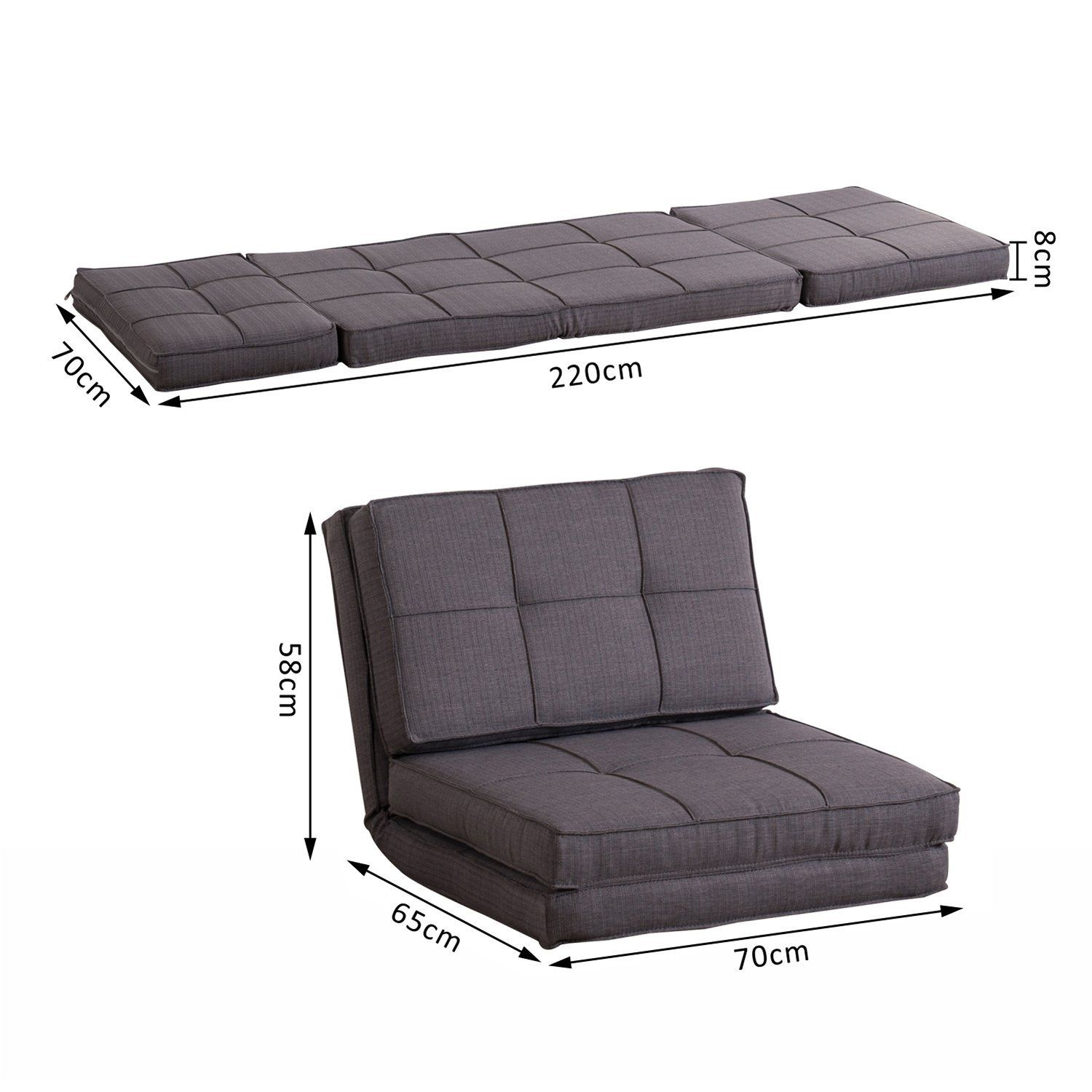 Homcom Single Sofa Bed Fold Out Guest Chair Foldable Futon Sleeper