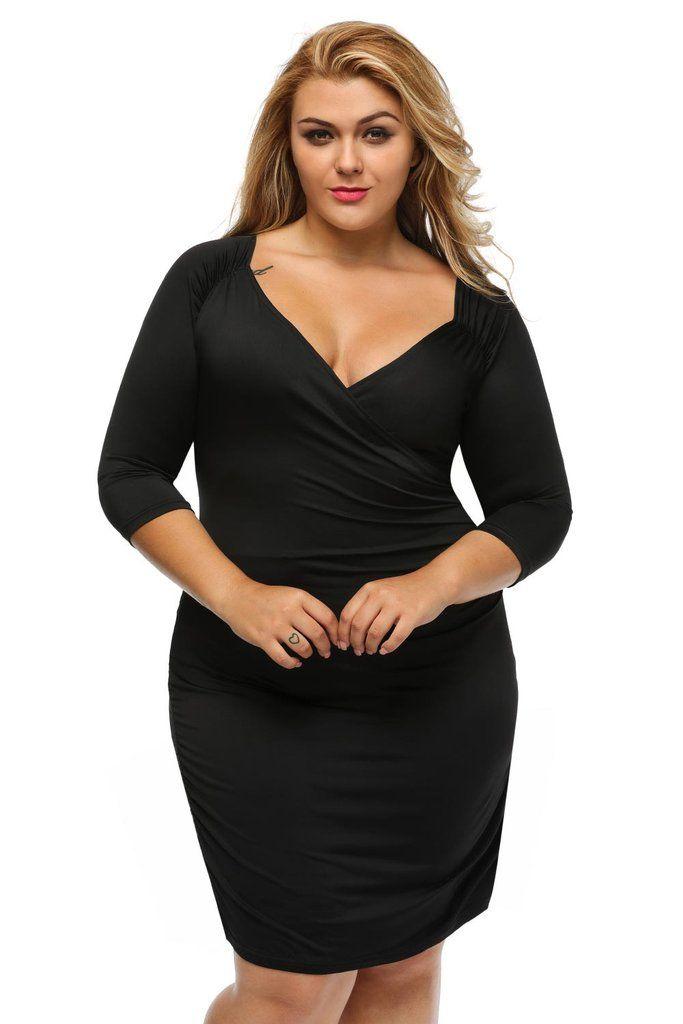 robe noir chic pour femme ronde col carre mi manche ruche. Black Bedroom Furniture Sets. Home Design Ideas