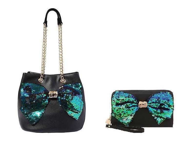 Betsey Johnson BOW-LESQUE SEQUIN DRAWSTRING BAG and WALLET SET BJ62500H  BJ32510H  BetseyJohnson  TotesShoppers 820d68e89ae86