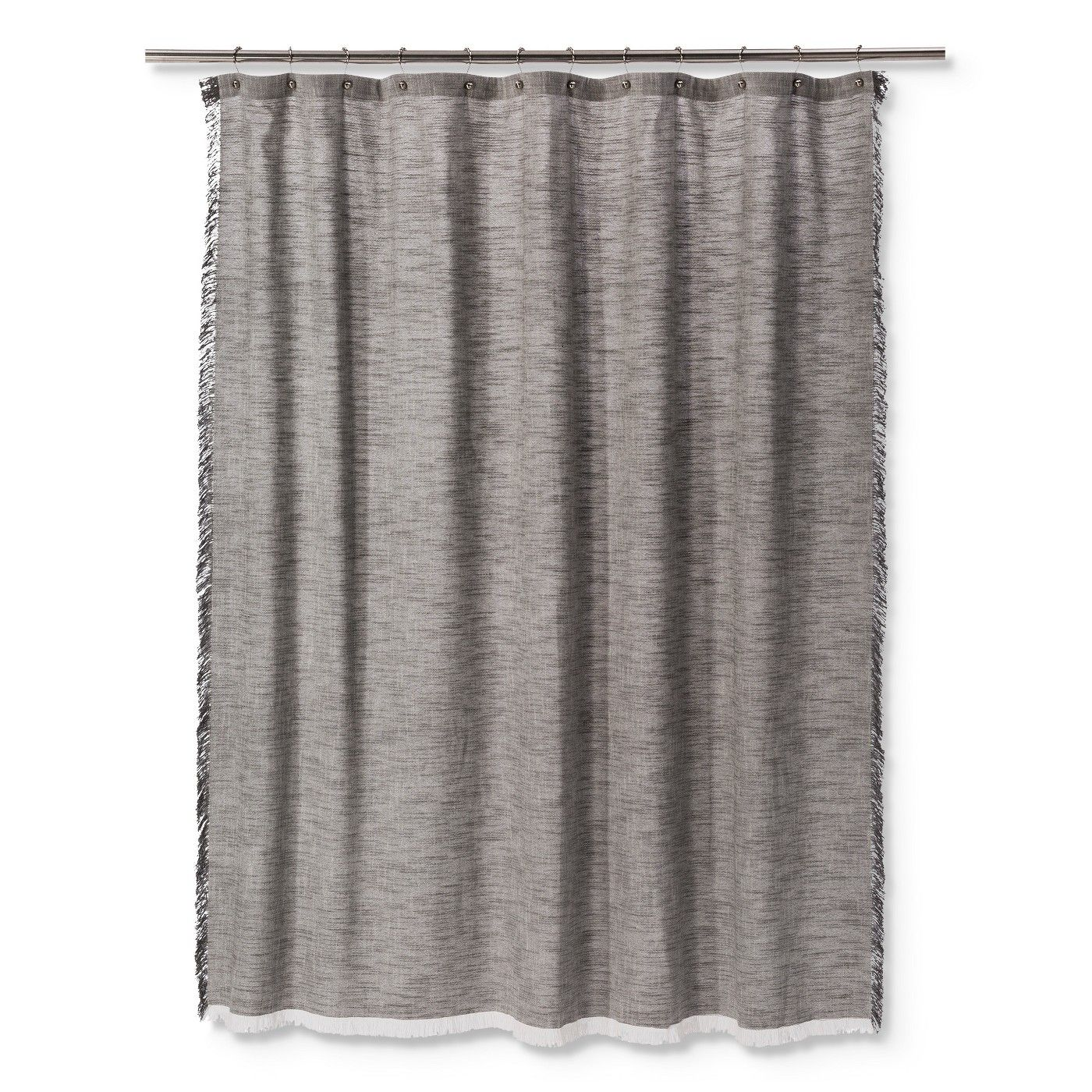 Woven Fringe Shower Curtain Gray Threshold Grey Curtains