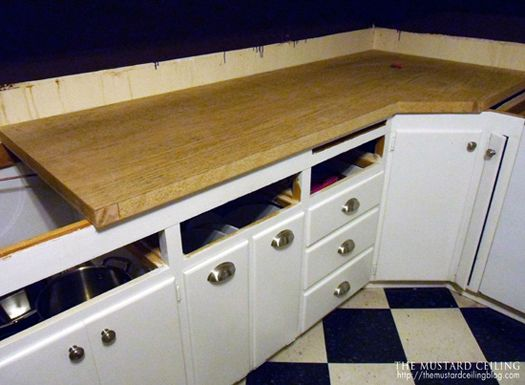 Delightful Installing Solid Wood Countertops Made From Old Doors, The Mustard Ceiling  On @Remodelaholic