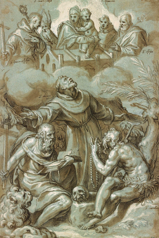 Paolo Farinati, Vierge à l'enfant avec quatre Saints,  au-dessus de l'adoration de SS. Jerome, Diego and Onofrius, 1592, The Morgan Library & Museum