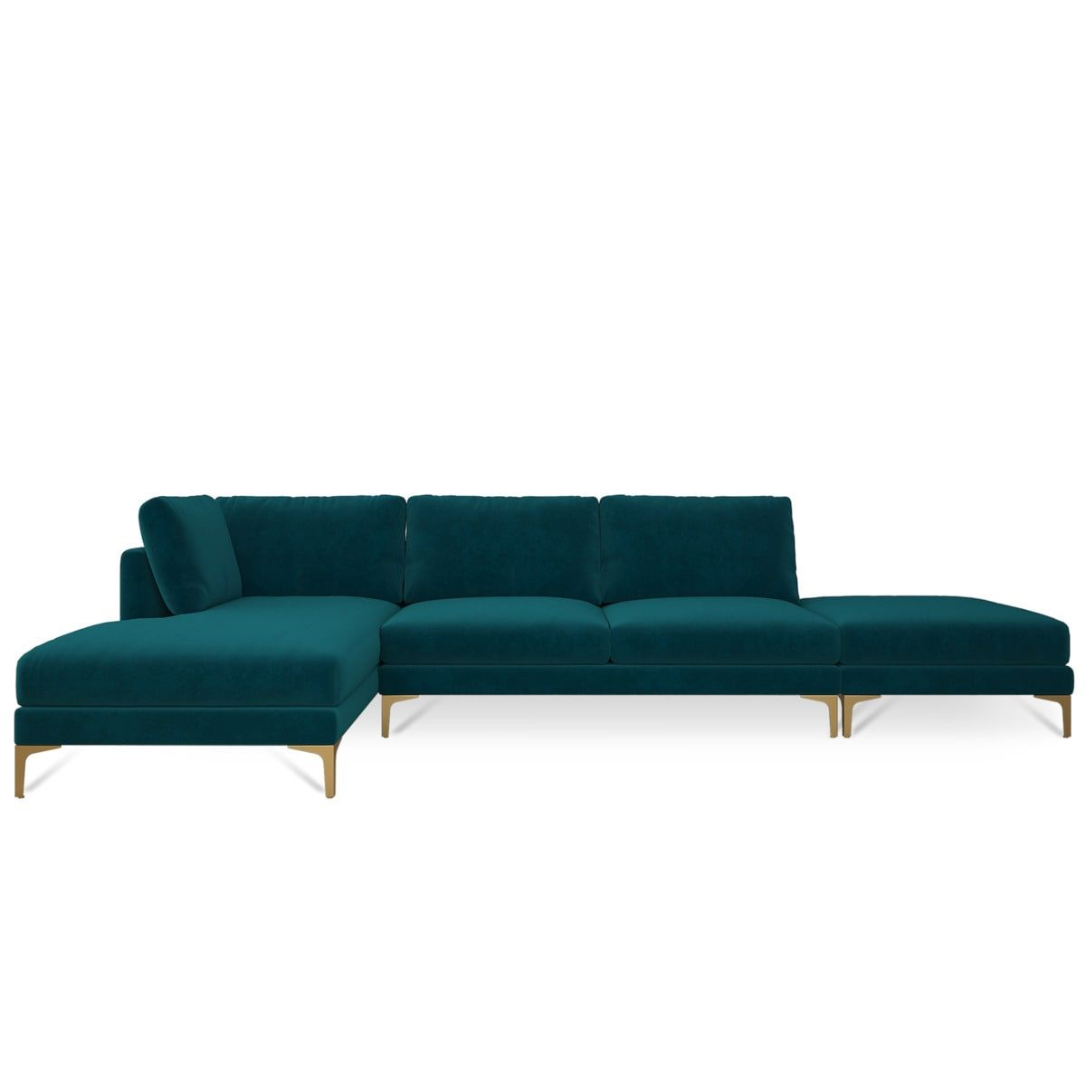 Adams Chaise Sectional Sofa With Ottoman Modern Teal Velvet 130 Modular Chaise Lounge Brass Metal Leg Left Facing Castlery Modern Furniture Sectional Sofa Classic Living Room Sofa