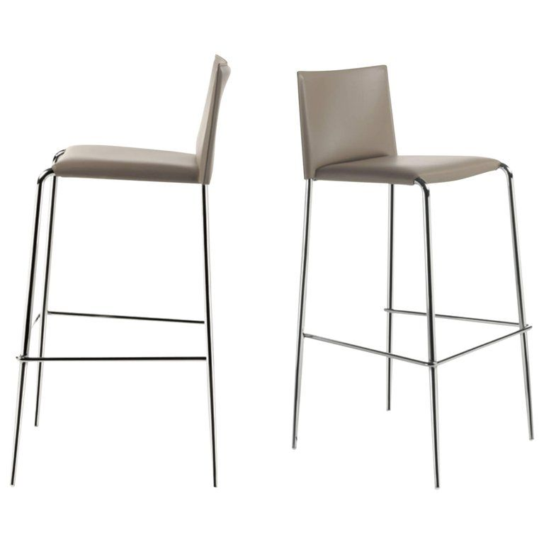 Incredible Italian Modern Bar Stools Leather And Chrome Or Painted Gmtry Best Dining Table And Chair Ideas Images Gmtryco