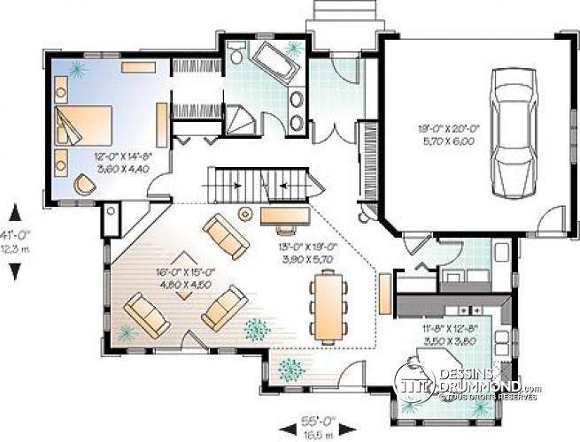 W2694A - Plan de maison champêtre vue panoramique, chambre des