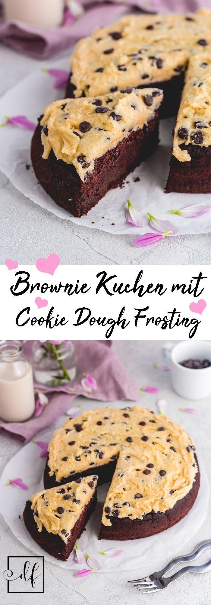 Der saftigste gesunde & vegane Brownie Kuchen mit Cookie Dough Frosting