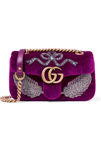 09cd80bc12ea Gucci | GG Marmont small embellished velvet shoulder bag | NET-A-PORTER.COM