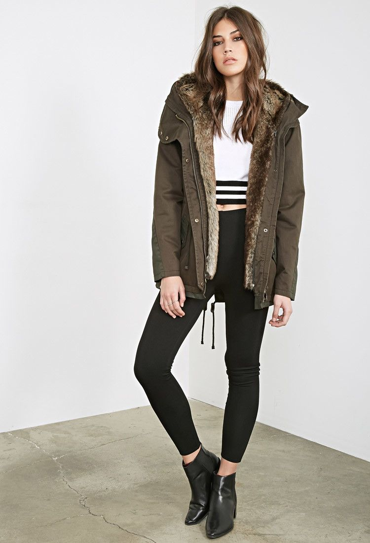 Faux Fur-Lined Parka - Jackets & Coats - 2000060358 - Forever 21 ...