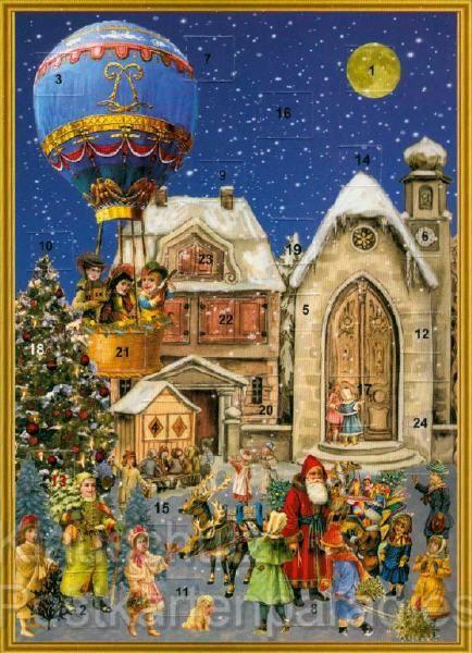 nostalgische adventskalender weihnachtskarte. Black Bedroom Furniture Sets. Home Design Ideas