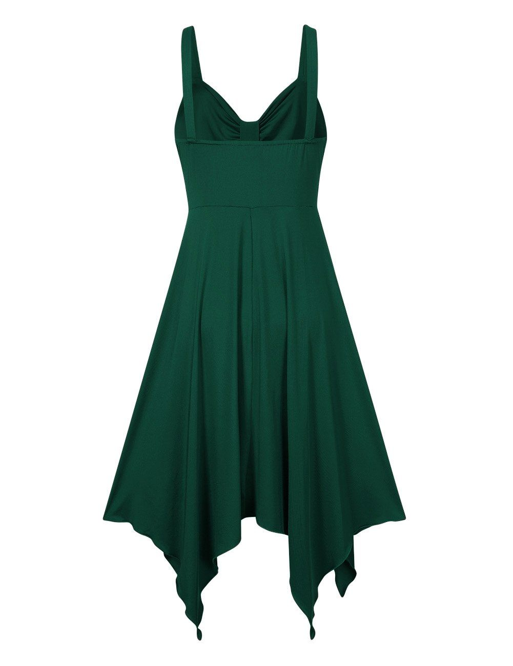 191b317a Leadingstar Women Spaghetti Strap Irregular Hem Summer Casual Beach Flared  Dress XL Dark Green ** To view further for this item, visit the image link.