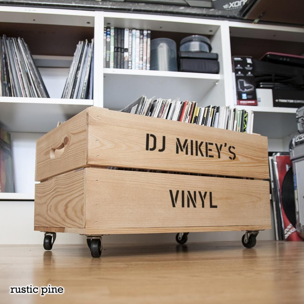 Personalised Wooden Vinyl Record Storage Crate Gift