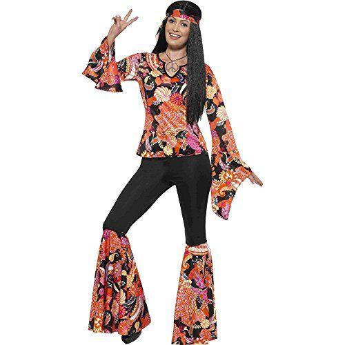 Medallion 1970s Ladies Fancy Dress Hippy 1960s Womens Costume New Hippie Chick