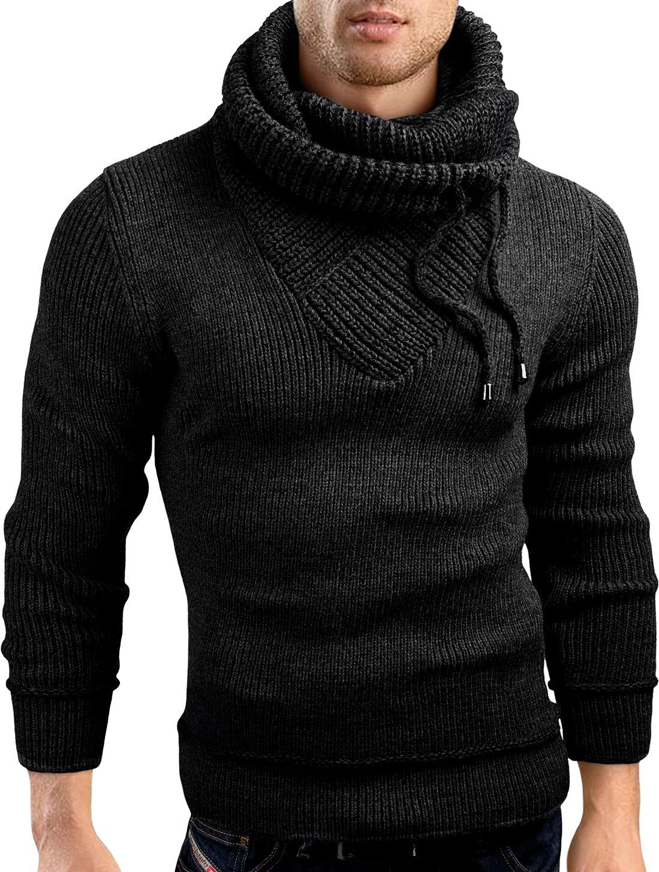 Grinbear Slim Fit Shawl Collar Knit Sweatshirt Cardigan Hoodie
