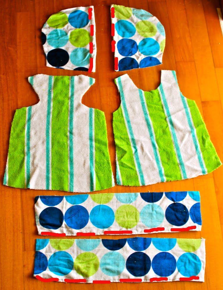 En primer lugar, rizar el asiento y coser a la parte inferior de las piezas de vestir. Coser las dos piezas juntas campana.