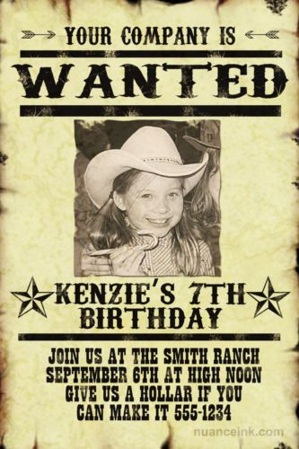 Wanted Poster Western Birthday Party Invitation