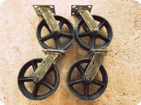 Vintage Swiveling 8 inch Caster Wheels / Antique Casters Set of 4 / - Vintage Swiveling 8 Inch Caster Wheels / By VintageIndustrial