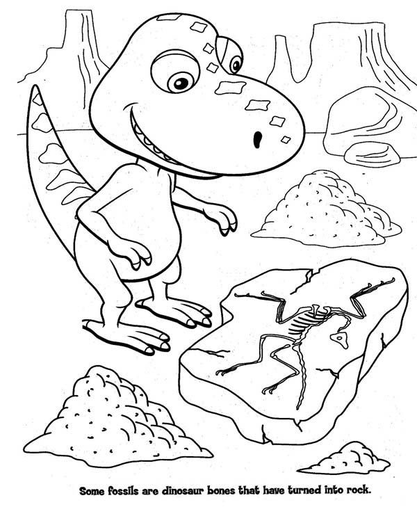 Dinosaur Buddy The Little T Rex In Train Coloring Page