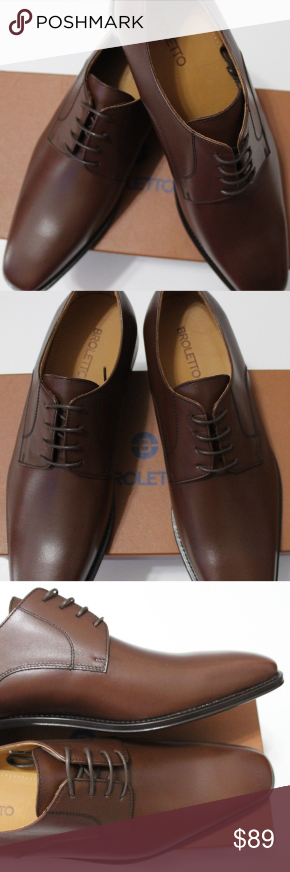 7b5a380d682 BROLETTO MRDAVID BROWN LEATHER DERBY SHOES BROLETTO MRDAVID BROWN LEATHER  DERBY SHOES Square Toe Topstitched welt